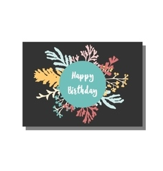 Universal card template with floral pattern Happy vector image