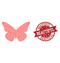 valentine heart composition of butterfly icon and vector image