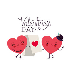 valentines day with heart love kawaii character vector image