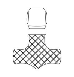 Viking god hammer icon in outline style isolated vector