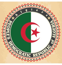 Vintage label cards algeria flag vector