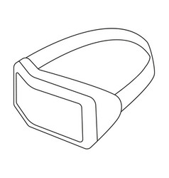 Virtual reality headset icon in outline style vector
