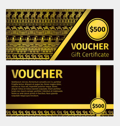 Voucher certificate golden template vector
