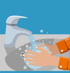 wash hands in sink vector image