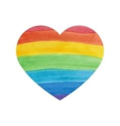 Water color textured rainbow heart vector image
