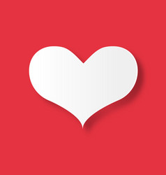 White heart on red background valentines day and vector
