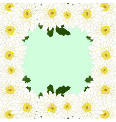 White mum chrysanthemum flower border vector