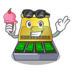 With ice cream cartoon vintage cash register front vector