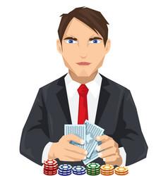 young tuxedo gambler vector image