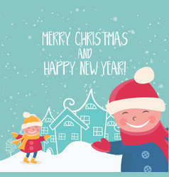 cartoon for holiday theme with child on winter vector image vector image