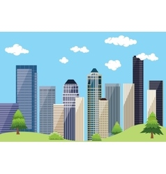city urban landscape with building skyscrapper and vector image