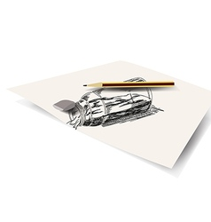 Drawing bottle on paper vector