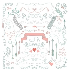 Hand Sketched Rustic Floral Design Elements vector image