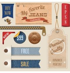 Jeans label set vector
