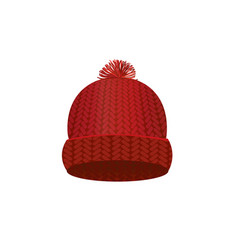 red knitted winter cap vector image vector image