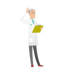 senior caucasian doctor scratching her head vector image