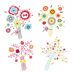 set of colorful bouquets vector image
