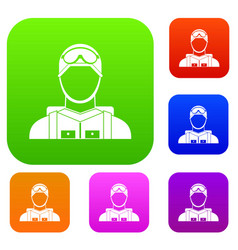 military paratrooper set collection vector image vector image