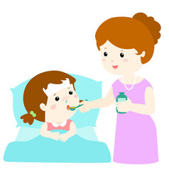 Mother giving daughter medicine vector