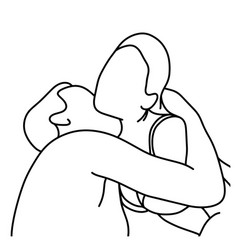 outline husband kissing his wife on her neck vector image vector image