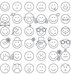 Outline Simple Circle Faces Set Emotions Faces vector image vector image