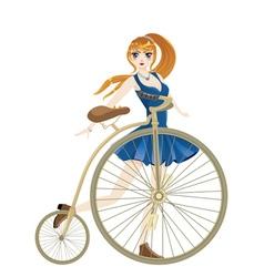 Retro bike and girl2 vector