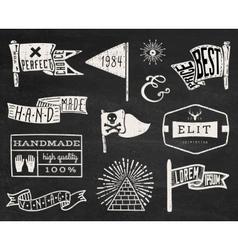 Set of chalk hipster vintage retro labels and log vector