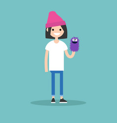 young female character playing with a hand puppet vector image vector image
