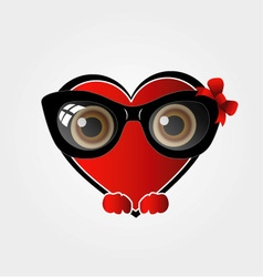 A red heart with black spectacles vector image