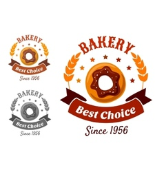 Bakery emblem with cookie vector image vector image