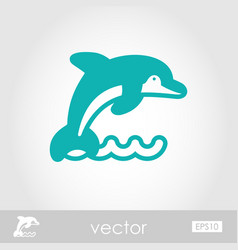 Dolphin outline icon summer vacation vector