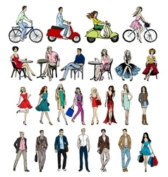 hand-drawn different people vector image