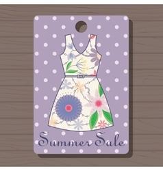 Sale label with dress vintage on wooden background vector image