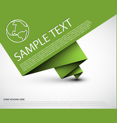 simple background with folded green paper vector image vector image