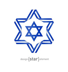 star with Israel flag colors and symbols vector image vector image