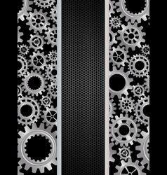 abstract gears banner on black background vector image