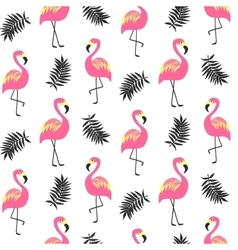 Beautiful seamless pattern with pink flamingo vector image vector image