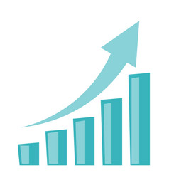 business growth bar chart with arrow going up vector image