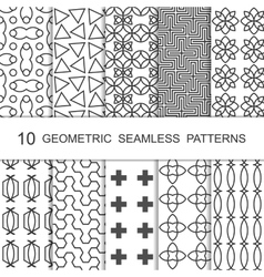 Seamless Geometric Pattern Set Ten Tiled vector image