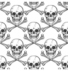Seamless pattern with sketched skull vector image vector image
