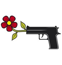 The gun shoots flowers vector image vector image
