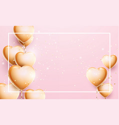 3d golden balloon hearts and confetti particles vector image