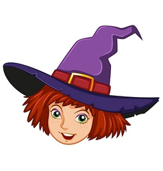 A smiling witch with a purple hat vector image