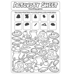 Activity sheet counting game topic 1 vector