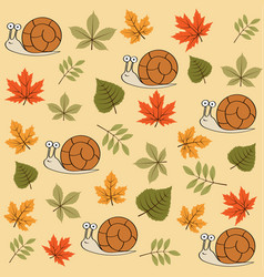 autumn seamless pattern with leaves and snails vector image