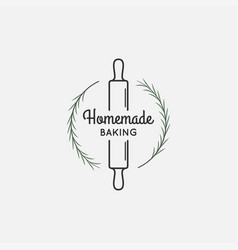 bakery logo with rolling pin and rosemary vector image