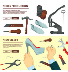 banners design template with shoe repair tools vector image