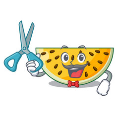 barber fresh yellow watermelon on character vector image