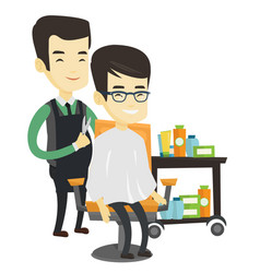 Barber making haircut to young asian man vector