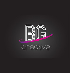 Bg b g letter logo with lines design and purple vector